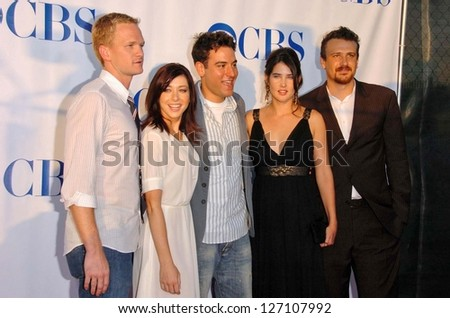"PASADENA - JULY 15: Cast of ""How I Met Your Mother"" at CBS's TCA Press Tour at The Rose Bowl on July 15, 2006 in Pasadena, CA. - stock photo"