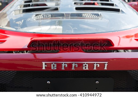 Pasadena, USA - April 24, 2016: Ferrari logo on display at the 9th Annual Concorso Ferrari event.