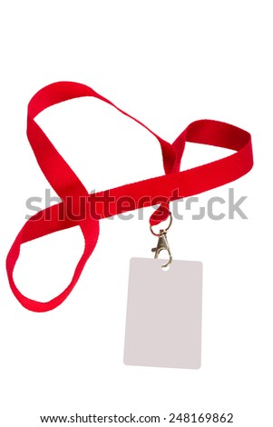 Pass isolated on a white background with a red ribbon