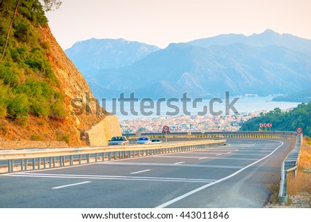 Pass mountain road and city views - stock photo