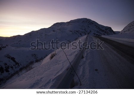 Pass over Iifjord mountains in Northen Norway - stock photo