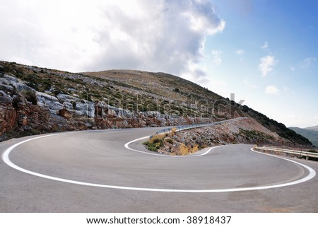 pass road and hairpin bend - stock photo