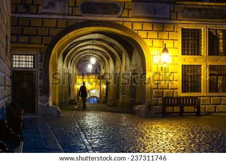 Passage and courtyard, Cesky Krumlov castle complex, Czech Republic - stock photo