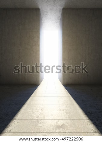 Passage between concrete slabs to light. 3D illustration.