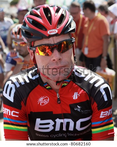 PASSAGE DU GOIS, FRANCE - JULY 2: Cadel Evans gives interview before start of 1st stage of Tour de France 2011 on July 2, 2011 Tour de France in Passage du Gois.