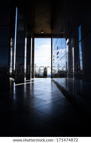 passage from dark into world - stock photo