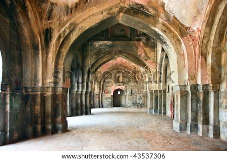 Passage of  Lodi Garden in Delhi city, India - Ancient Architecture - stock photo