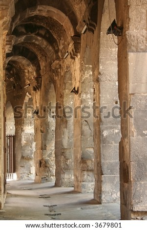 Passage Way in Roman Amphitheater, Nimes, France - stock photo