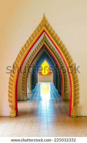Passageway in the temple, Beautiful temple walkway - stock photo