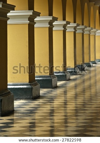 Passageway of city hall building on Plaza de Armas in Lima Peru - stock photo