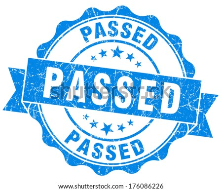 passed blue grunge stamp - stock photo