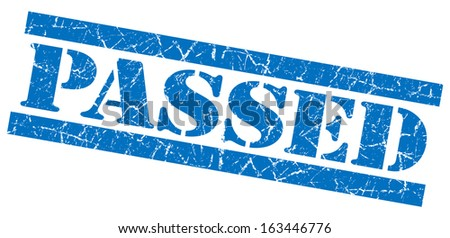 Passed grunge blue stamp - stock photo