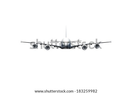 Passenger air plane flying, front view, isolated on white background. - stock photo