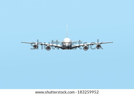 Passenger air plane flying in the sky, front view,, blue background. - stock photo