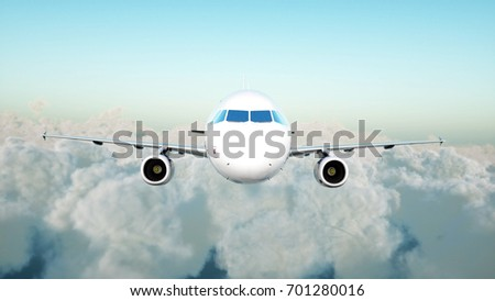 Passenger airbus flying in the clouds. Travel concept. 3d rendering.