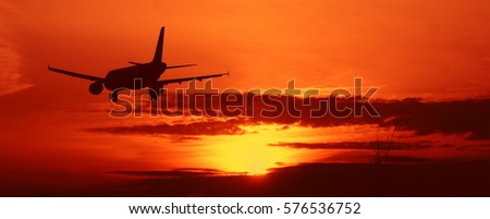 Passenger aircraft landing at the airport