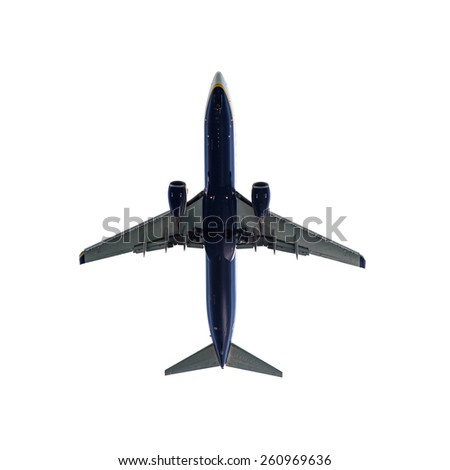 Passenger Aircraft Landing isolated in White background - stock photo
