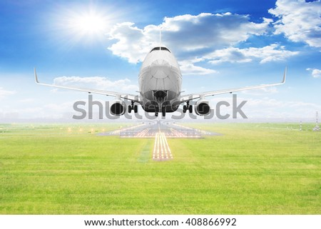 Passenger aircraft takeoff on runway of airport - stock photo