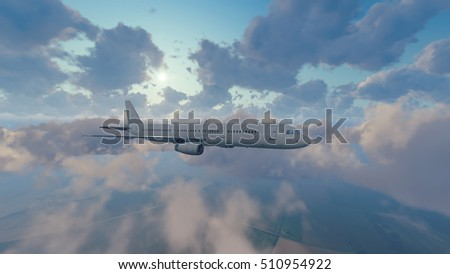 Passenger airliner flying above cumulus clouds high in the sky against shining sun at daytime. 3D illustration was done from my own 3D rendering file.