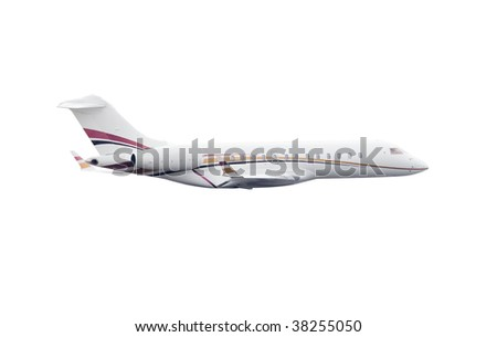 passenger airplane in a business transportation image isolated over a withe background - stock photo