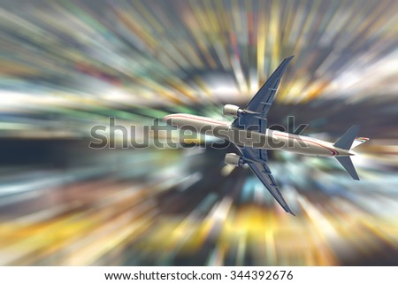Passenger airplane isolated on abstract bokeh lights background. - stock photo