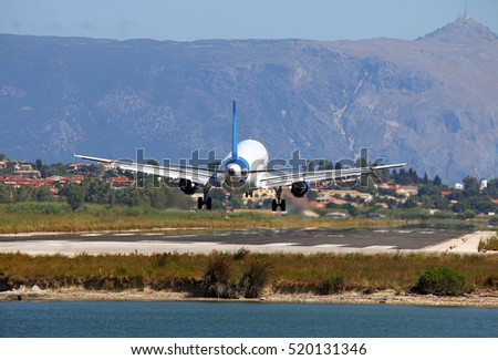 passenger airplane landing on Corfu airport