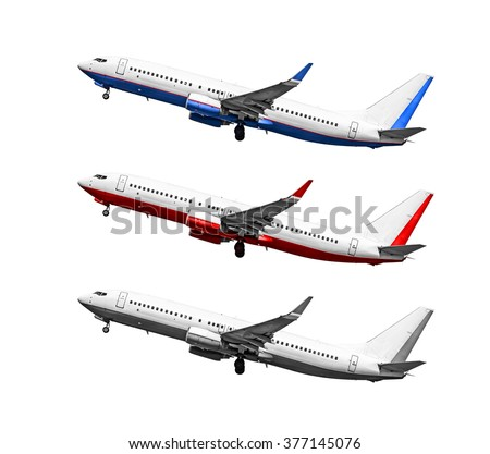Passenger airplane on white background