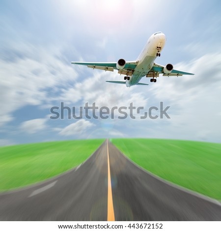 Passenger airplane take off from runways against beautiful sky blur background ,concept aircraft transport and traveling business industry - stock photo