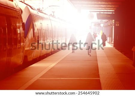 Passenger and commuter train - stock photo