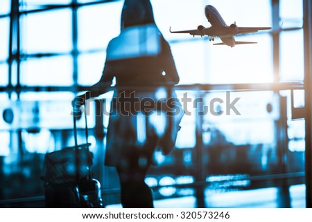 passenger at the airport - stock photo