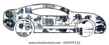 Passenger car assembled from new auto, spare parts. Spare parts for shop, aftermarket. Car with spare parts. New spare parts for shop. Many auto spare parts for car. Isolated auto spare parts - stock photo