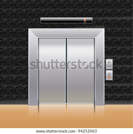 Passenger elevator with closed doors.