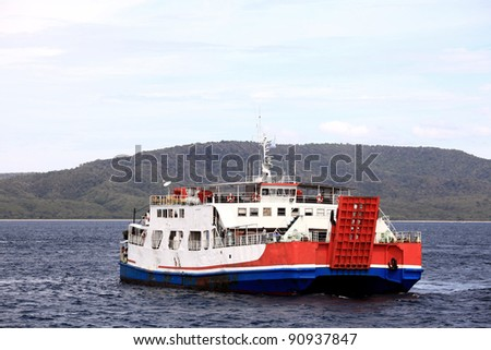 Passenger Ferry Cargo Cruise Liner on Sea - stock photo