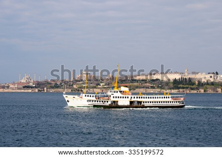 Passenger Ferry in the Bosphorus , Istanbul, Turkey - stock photo