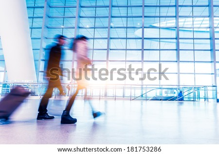 passenger in high speed ??rail station - stock photo