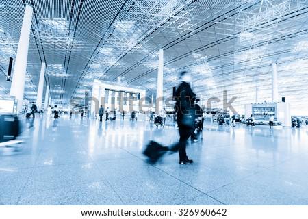 passenger in high speed rail station - stock photo