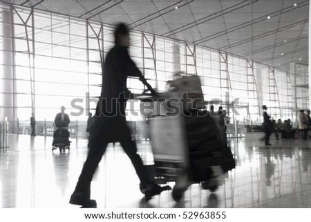 passenger in the airport - stock photo