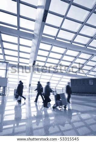Passenger in the Beijing airport - stock photo