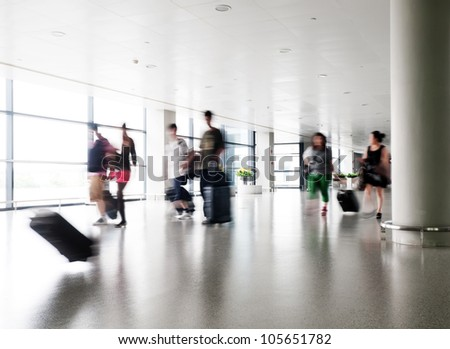 passenger in the shanghai pudong airport.interior of the airport.