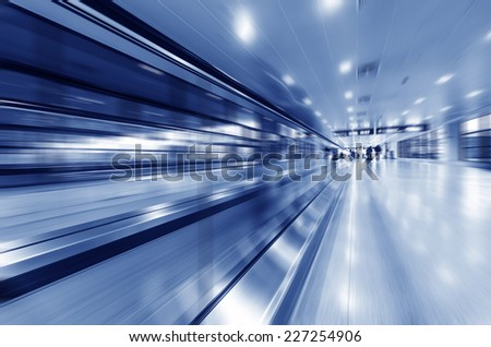 passenger in the shanghai pudong airport.interior of the airport - stock photo