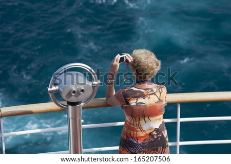 Passenger on a cruise ship - stock photo