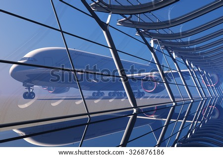 Passenger plane in the airport. - stock photo