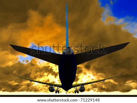 Passenger plane is landing during spectacular evening - stock photo
