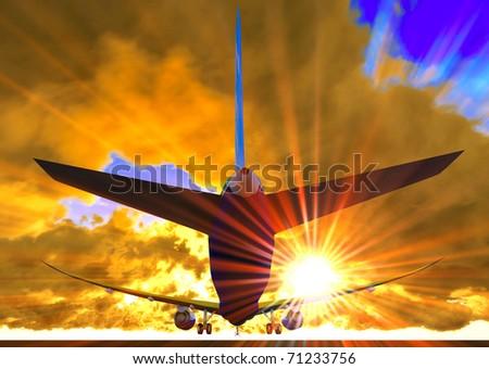 Passenger plane is landing during spectacular evening - stock photo