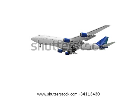 passenger plane isolated on white background - stock photo