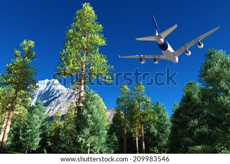 Passenger plane over a forest. - stock photo