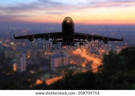 passenger plane take off from runways at time beautiful sunset sky use for air transport ,journey and travel industry business - stock photo