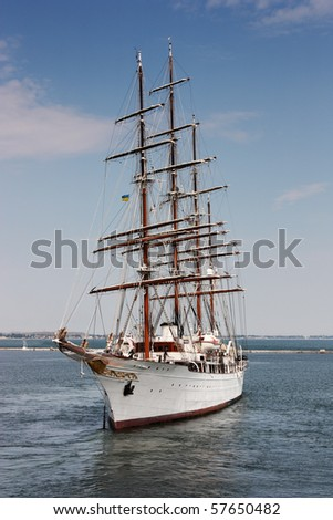 passenger sailing boat at sea - stock photo