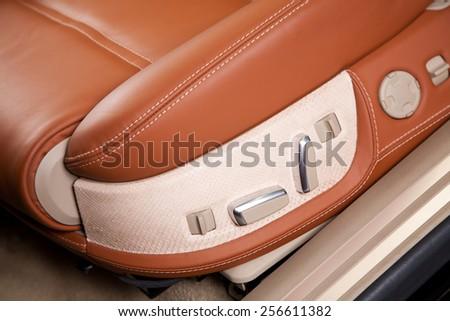 Passenger seats in modern  comfortable car, close up photo - stock photo