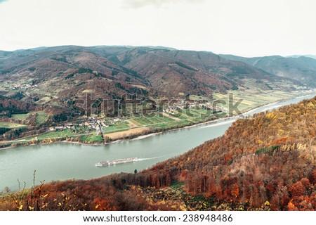 Passenger Ship in the Danube River. Taken in Wachau, Lower Austria - stock photo